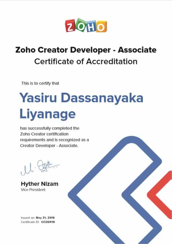 Zoho Certificate of Accreditation