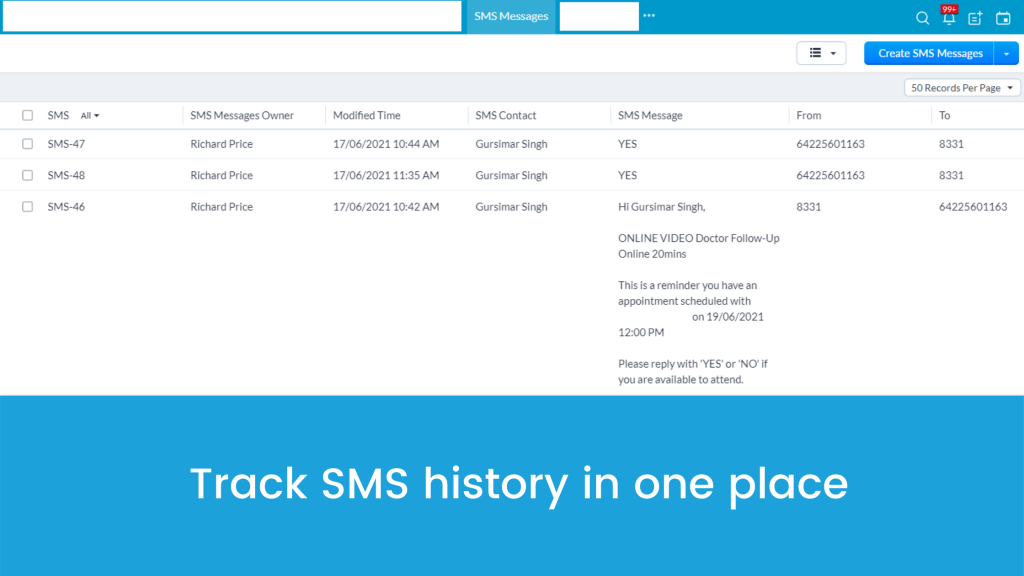 Track SMS history