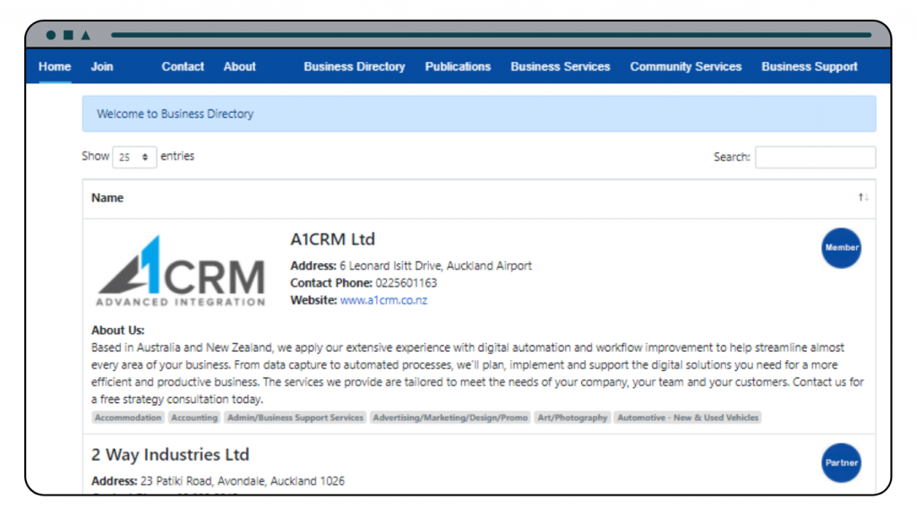 Business listing CRM